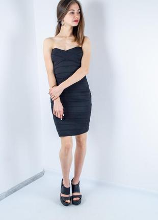 Bershka черное бандажное платье мини бандо, міні плаття, облегающее бюстье, выпускное