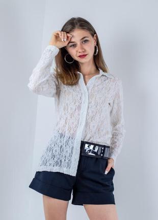 Poetry белая кружевная рубашка, блуза из кружева на пуговицах, ажурна біла сорочка
