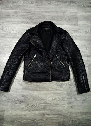 Кожаная черная куртка косуха dorothy perkins кожанка