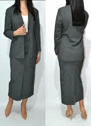 Костюм деловой удлиненный пиджак юбка миди высокая посадка primark.