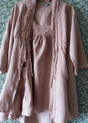 Леновый костюм пудрового цвета io&co.италия.