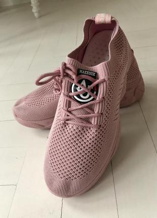 Кроссовки нежные розовые, пудровые, 37р. сиреневые, легкие, сеточка,