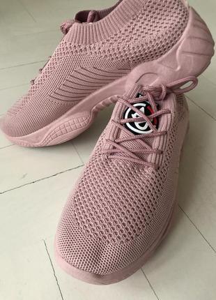 Кроссовки нежные розовые, пудровые, 37р. сиреневые, легкие, сеточка,6 фото