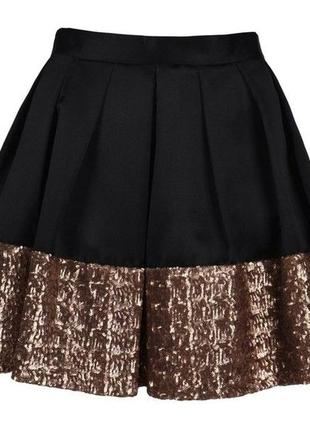 Черная,вечерняя юбка с золотыми паетками,подкладка+фатим,оригинал ted baker