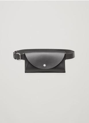 Cos сумка на пояс кожаная черная, поясная