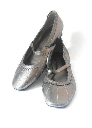 Качество! кожа! серебристые туфли / балетки katy kiro, р. 38 код t0833