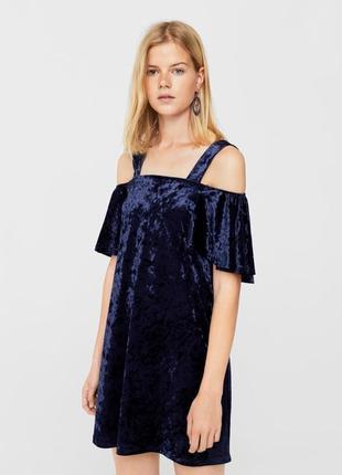 Велюровое платье туника оверсайз mango новое, оригинал, синий бархат