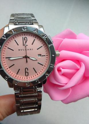Новые стильные часы серебристые с розовым циферблатом