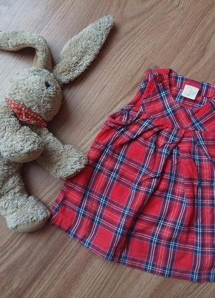 Платье в клеточку красное на девочку 2-4 месяца хлопок сарафан