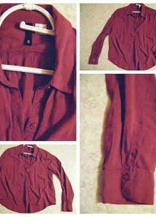 Легкая рубашка цвета марсала