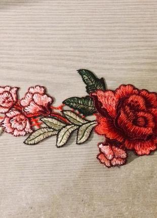 Нашивка цветы роза большая патч вышивка 30 см