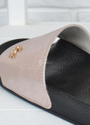 Шлепанцы женские кожаные пудра розовые анатомическая стелька облегченные3 фото