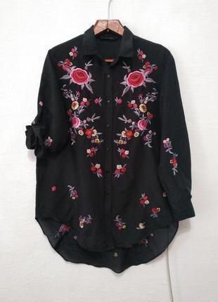 """Стильная черная рубашка """" вишиванка """" большого размера"""