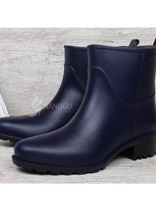 Резиновые ботильоны на каблуке rain angel темно-синие резиновые сапоги ботинки
