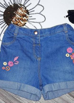 Джинсовые шорты с вышивкой 2-4г