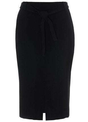 Чёрная юбка карандаш с разрезом спереди3 фото
