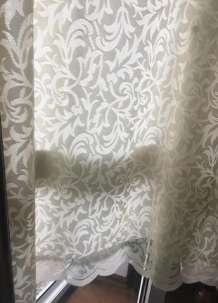 Молочного цвета портьеры, на кухонное окно, кружевные 1,85