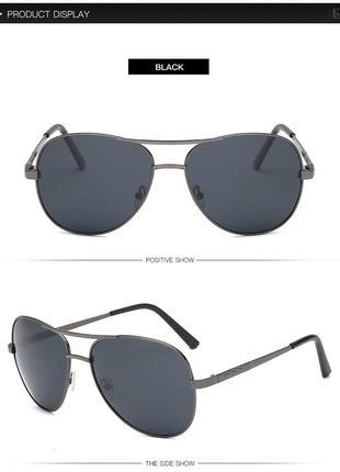 Солнцезащитные поляризованные мужские очки-авиаторы с дымчатой черной линзой