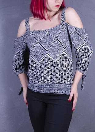 Серая блуза с опущенными плечами, летняя блуза с открытыми плечами5 фото