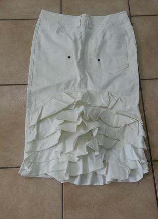 Джинсовая юбка карандаш с воланами