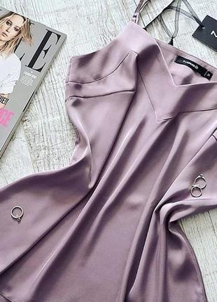Шикарный шелковый базовый топ майка повседневный стильный пудровый лиловый