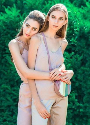 Шикарный шелковый базовый топ майка повседневный стильный пудровый лиловый2 фото
