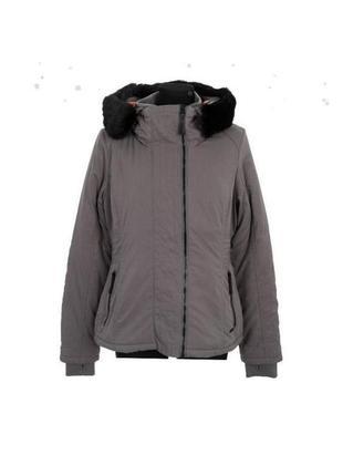 Куртка, женская,зимняя,теплая,серая,с капюшоном, демисезонная, bench, размер 44-46