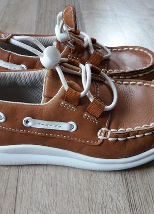 16,5см-25,5р clarks кожаные туфли мокасины на мальчика арт.3208
