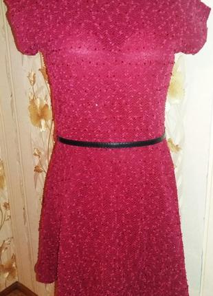 """Платье цвета """"марсала"""" с нежными паетками в цвет"""