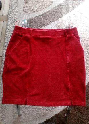 Красная мягкая юбка с карманами tu woman,размер 12(40)-l