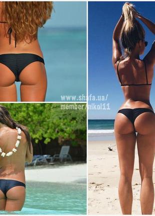 Черные плавки бразилиана 🔥 трусики купальника со сборкой стринги бикини2 фото