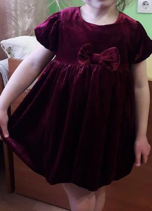 Велюровое платье цвета марсала 2-3 года