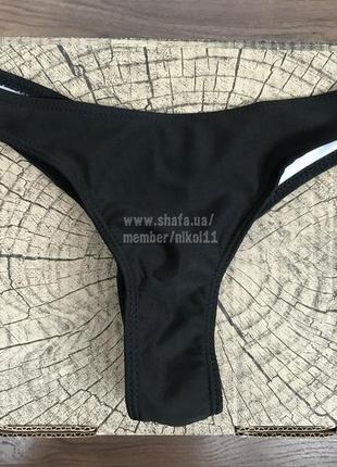 Черные плавки бразилиана 🔥 трусики купальника со сборкой стринги бикини4 фото