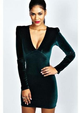 Бирка сексуальное велюровое с глубоким вырезом вечернее маленькое черное платье xs-s 10