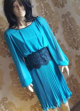 Изысканное вечернее платье, нарядное платье, платье для торжества, платье с юбкой плиссе