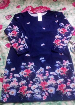 Сукні кольору індиго з квітами2 фото