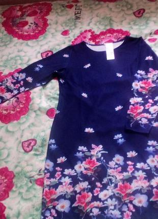 Сукні кольору індиго з квітами3 фото