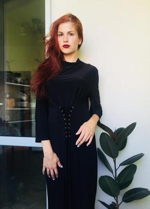 Платье со шнуровкой на талии s-m