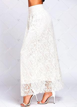 Белая ажурная, кружевная гипюровая юбка в пол  макси с/м