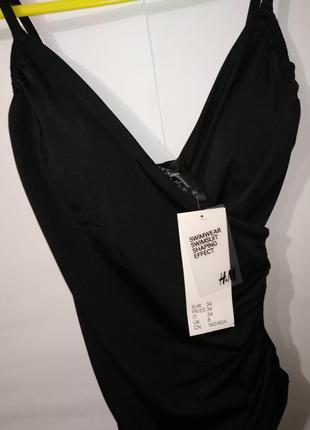 Новый черный модный цельный купальник на запах h&m uk 8/36/,xs5 фото