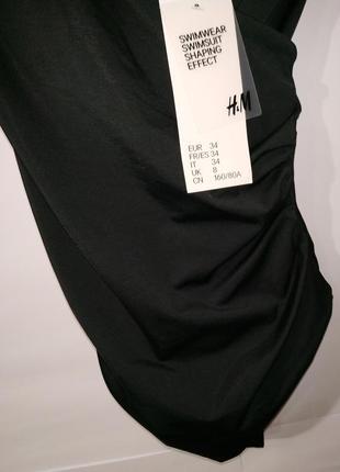 Новый черный модный цельный купальник на запах h&m uk 8/36/,xs4 фото