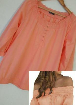Топ блуза з відкритими плечими / з резинкою на плечах