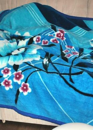 Покрывало 3х2 м акриловое толстое яркое насыщенное синее цветок качественное