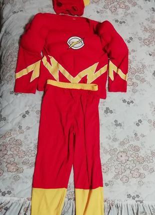 Карнавальный костюм с маской супергерой флэш вспышка или молния на 7-8лет