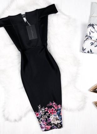 Cукня з відкритими плечима преміум \ черное премиум платье миди paper dolls(asos)