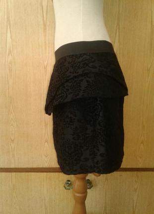Черная вискозная юбка под бархат c молнией на спинке,xl.2 фото