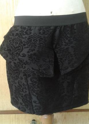 Черная вискозная юбка под бархат c молнией на спинке,xl.3 фото