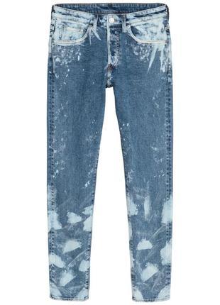 Джинсы синие с пятнами рваные скини skinny h&m 36/34