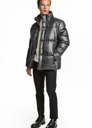 Куртка зимняя графитовая серая серебристая мужская h&m xl