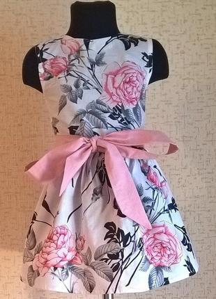 Платье для девочки. платье детское с цветочным принтом. 100 хлопок. 110-140